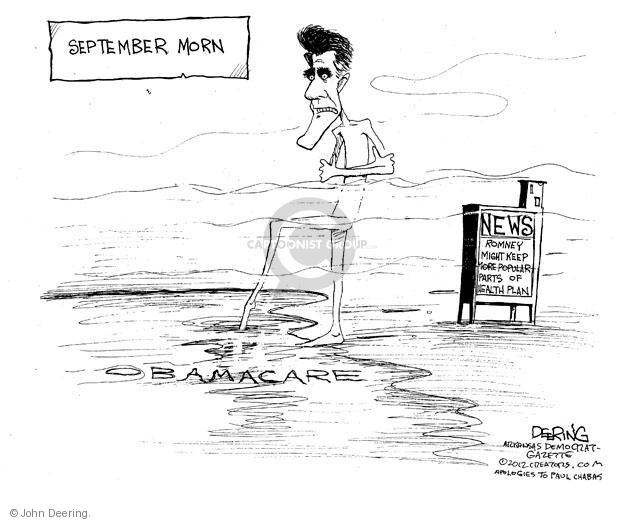 September Morn. News. Romney might keep more popular parts of health plan. Obamacare.