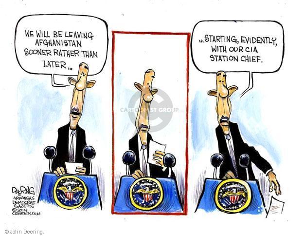 Cartoonist John Deering  John Deering's Editorial Cartoons 2014-06-02 Obama Afghanistan