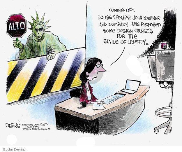 John Deering  John Deering's Editorial Cartoons 2014-07-16 immigration sign