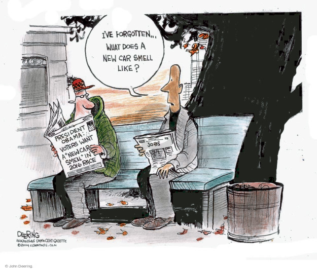 Cartoonist John Deering  John Deering's Editorial Cartoons 2014-11-25 unemployment