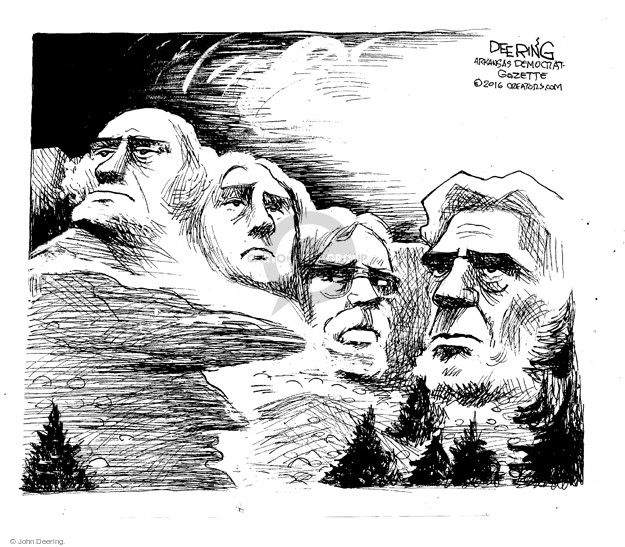 No caption (Teddy Roosevelt looks at warily at Mount Rushmore).