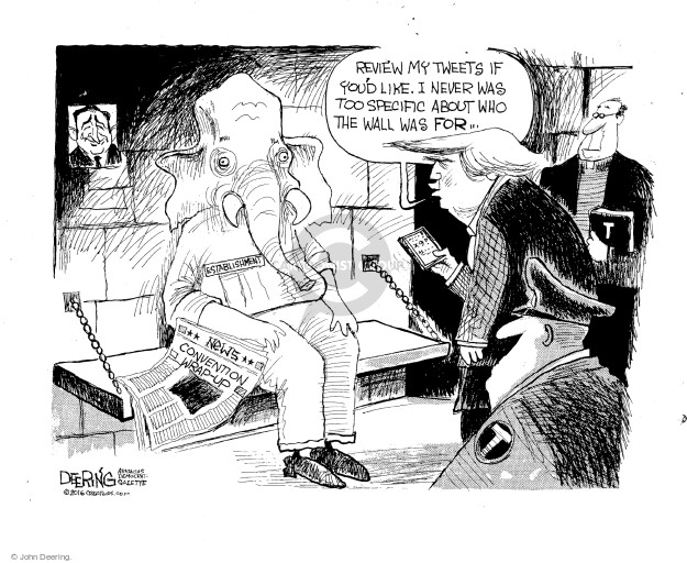 Cartoonist John Deering  John Deering's Editorial Cartoons 2016-07-25 John