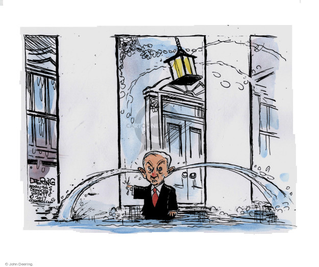 No caption. Attorney General Jeff Sessions is shown putting his finger in the dam to prevent water leaking out of the White House while water leaks out of his ears.