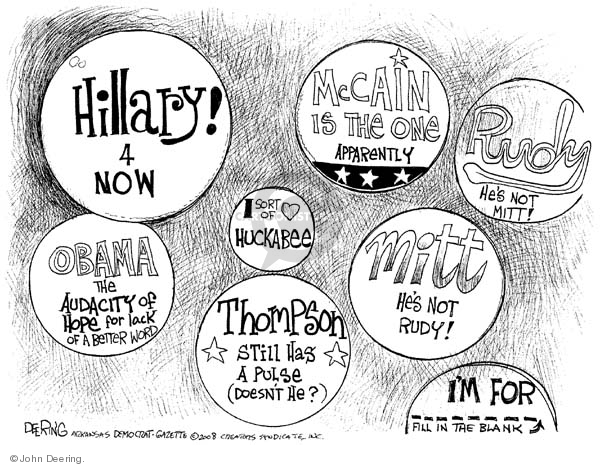 Cartoonist John Deering  John Deering's Editorial Cartoons 2008-01-03 Fred Thompson