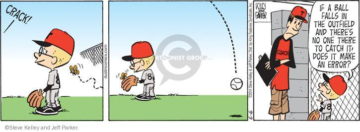 CRACK! If a ball falls in the outfield and theres no one there to catch it, does it make an error?