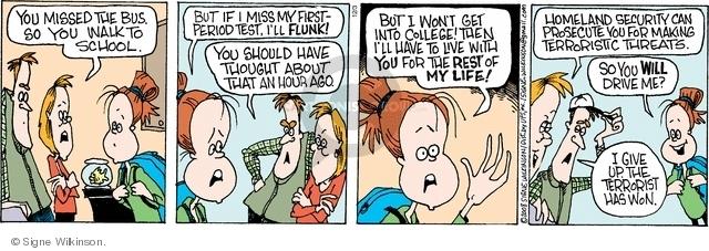 Comic Strip Signe Wilkinson  Family Tree 2008-12-03 walk to school