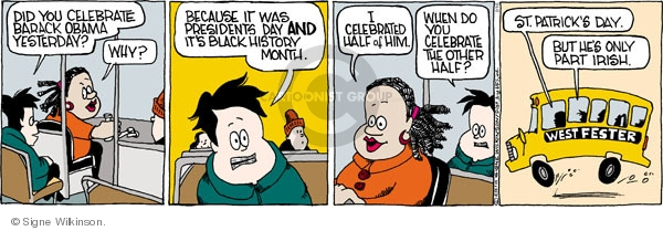 Comic Strip Signe Wilkinson  Family Tree 2010-02-16 racial