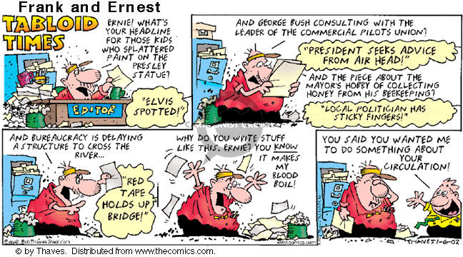 Cartoonist Bob Thaves Tom Thaves  Frank and Ernest 2002-01-06 news