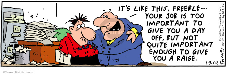 Comic Strip Bob Thaves Tom Thaves  Frank and Ernest 2002-01-09 employment work