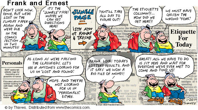 Cartoonist Bob Thaves Tom Thaves  Frank and Ernest 2002-01-20 wrong
