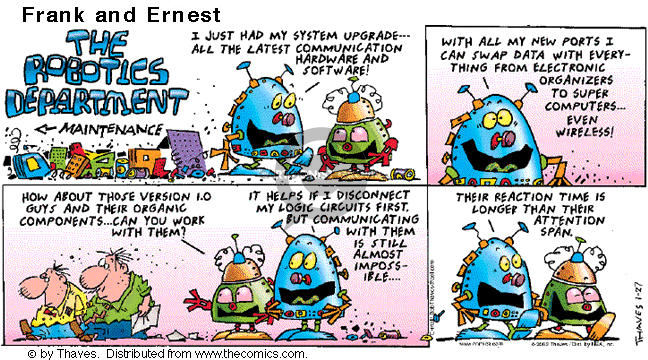 Comic Strip Bob Thaves Tom Thaves  Frank and Ernest 2002-01-27 computer