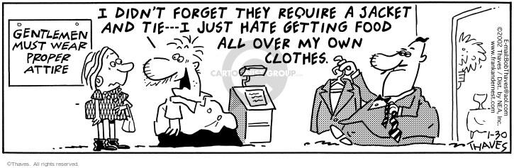 Comic Strip Bob Thaves Tom Thaves  Frank and Ernest 2002-01-30 eat