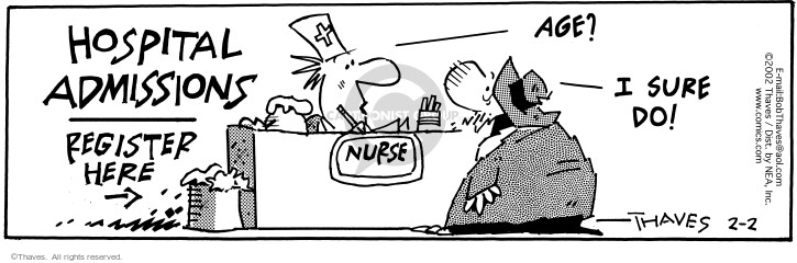 Comic Strip Bob Thaves Tom Thaves  Frank and Ernest 2002-02-02 nurse