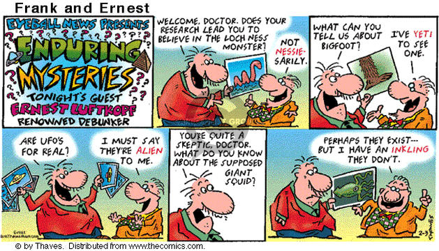 Cartoonist Bob Thaves Tom Thaves  Frank and Ernest 2002-02-03 real news