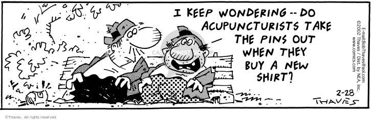 Comic Strip Bob Thaves Tom Thaves  Frank and Ernest 2002-02-28 puncture
