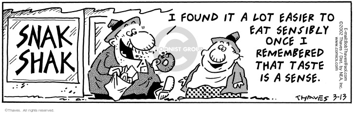 Comic Strip Bob Thaves Tom Thaves  Frank and Ernest 2002-03-13 taste