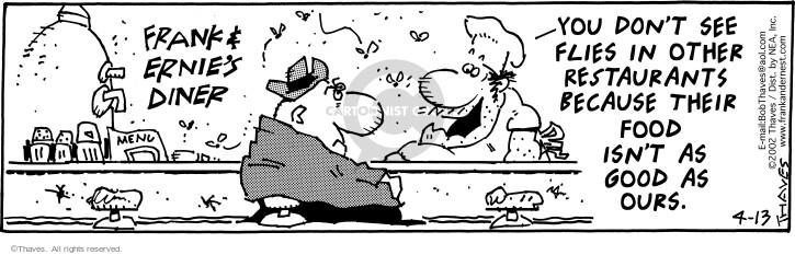 Cartoonist Bob Thaves Tom Thaves  Frank and Ernest 2002-04-13 good