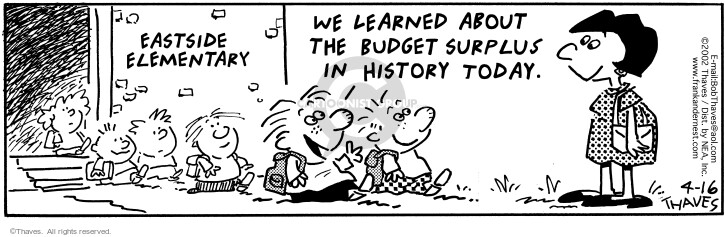Comic Strip Bob Thaves Tom Thaves  Frank and Ernest 2002-04-16 deficit