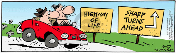 Comic Strip Bob Thaves Tom Thaves  Frank and Ernest 2003-06-27 road sign