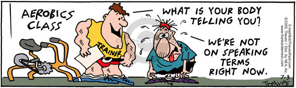 Comic Strip Bob Thaves Tom Thaves  Frank and Ernest 2003-07-03 fitness center