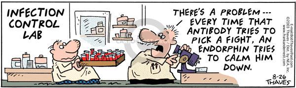Comic Strip Bob Thaves Tom Thaves  Frank and Ernest 2003-08-26 medical test