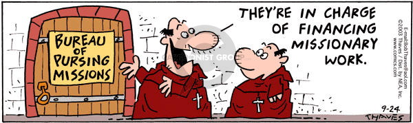 Cartoonist Bob Thaves Tom Thaves  Frank and Ernest 2003-09-24 money