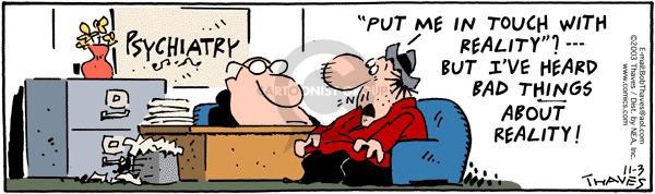 Comic Strip Bob Thaves Tom Thaves  Frank and Ernest 2003-11-03 fantasy