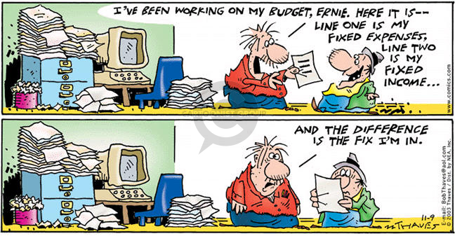 Comic Strip Bob Thaves Tom Thaves  Frank and Ernest 2003-11-09 personal finance
