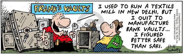 Cartoonist Bob Thaves Tom Thaves  Frank and Ernest 2003-11-11 vault