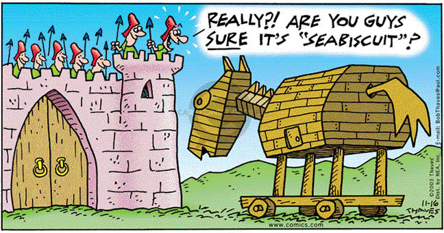 Comic Strip Bob Thaves Tom Thaves  Frank and Ernest 2003-11-16 Trojan horse