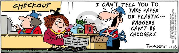 Comic Strip Bob Thaves Tom Thaves  Frank and Ernest 2003-11-18 bag
