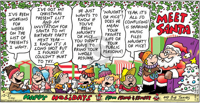 Comic Strip Bob Thaves Tom Thaves  Frank and Ernest 2003-12-21 naughty