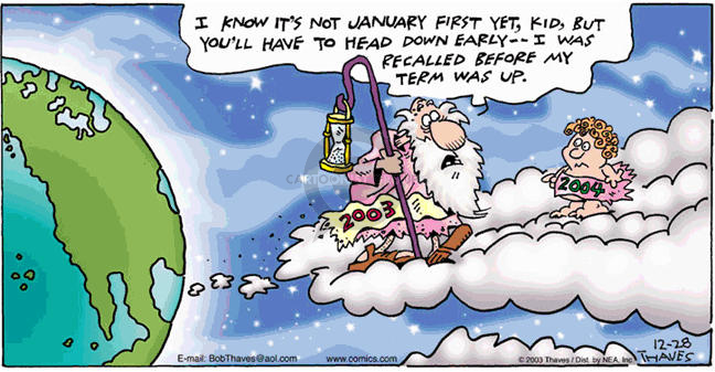 Comic Strip Bob Thaves Tom Thaves  Frank and Ernest 2003-12-28 baby new year