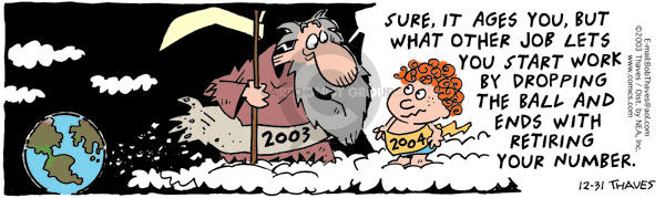Comic Strip Bob Thaves Tom Thaves  Frank and Ernest 2003-12-31 drop it