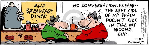 Comic Strip Bob Thaves Tom Thaves  Frank and Ernest 2004-01-03 left brain