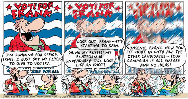 Comic Strip Bob Thaves Tom Thaves  Frank and Ernest 2004-01-18 election