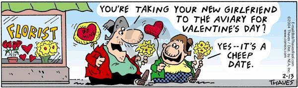 Cartoonist Bob Thaves Tom Thaves  Frank and Ernest 2004-02-13 couple