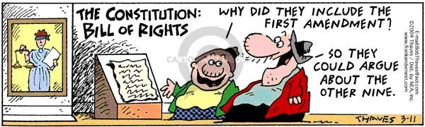 Comic Strip Bob Thaves Tom Thaves  Frank and Ernest 2004-03-11 Constitution