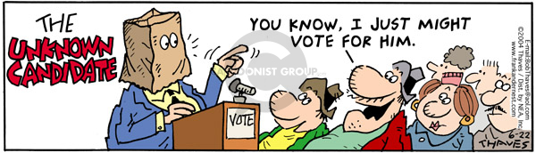 Comic Strip Bob Thaves Tom Thaves  Frank and Ernest 2004-06-22 election