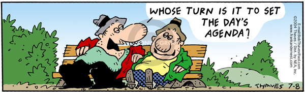 Comic Strip Bob Thaves Tom Thaves  Frank and Ernest 2004-07-08 bench