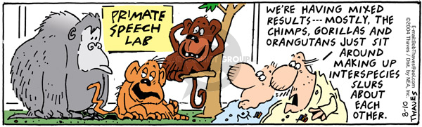 Comic Strip Bob Thaves Tom Thaves  Frank and Ernest 2004-08-10 monkey