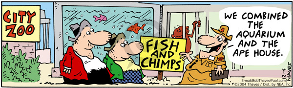 Comic Strip Bob Thaves Tom Thaves  Frank and Ernest 2004-12-04 ape
