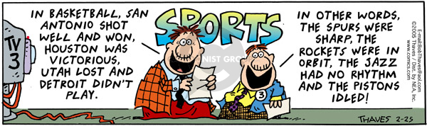 Comic Strip Bob Thaves Tom Thaves  Frank and Ernest 2005-02-25 basketball score