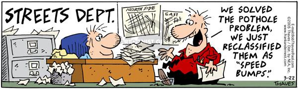 Comic Strip Bob Thaves Tom Thaves  Frank and Ernest 2005-03-22 problem solved