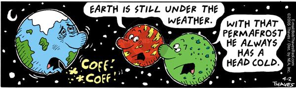 Cartoonist Bob Thaves Tom Thaves  Frank and Ernest 2005-04-02 sky