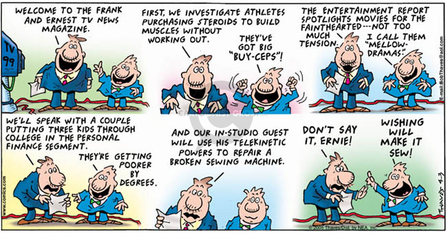 Cartoonist Bob Thaves Tom Thaves  Frank and Ernest 2005-04-03 college sports