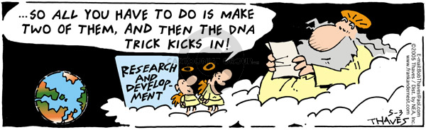 Comic Strip Bob Thaves Tom Thaves  Frank and Ernest 2005-05-03 genetic
