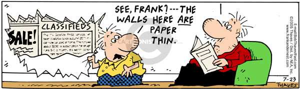 Cartoonist Bob Thaves Tom Thaves  Frank and Ernest 2005-07-23 wall