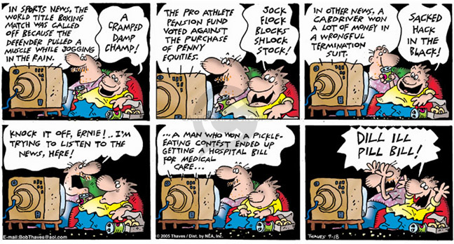 Comic Strip Bob Thaves Tom Thaves  Frank and Ernest 2005-09-18 pension