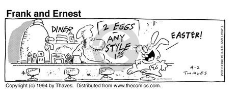Cartoonist Bob Thaves Tom Thaves  Frank and Ernest 1994-04-02 counter